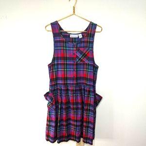 Vintage 90s Nouveau Faces Plaid Jumper Dress